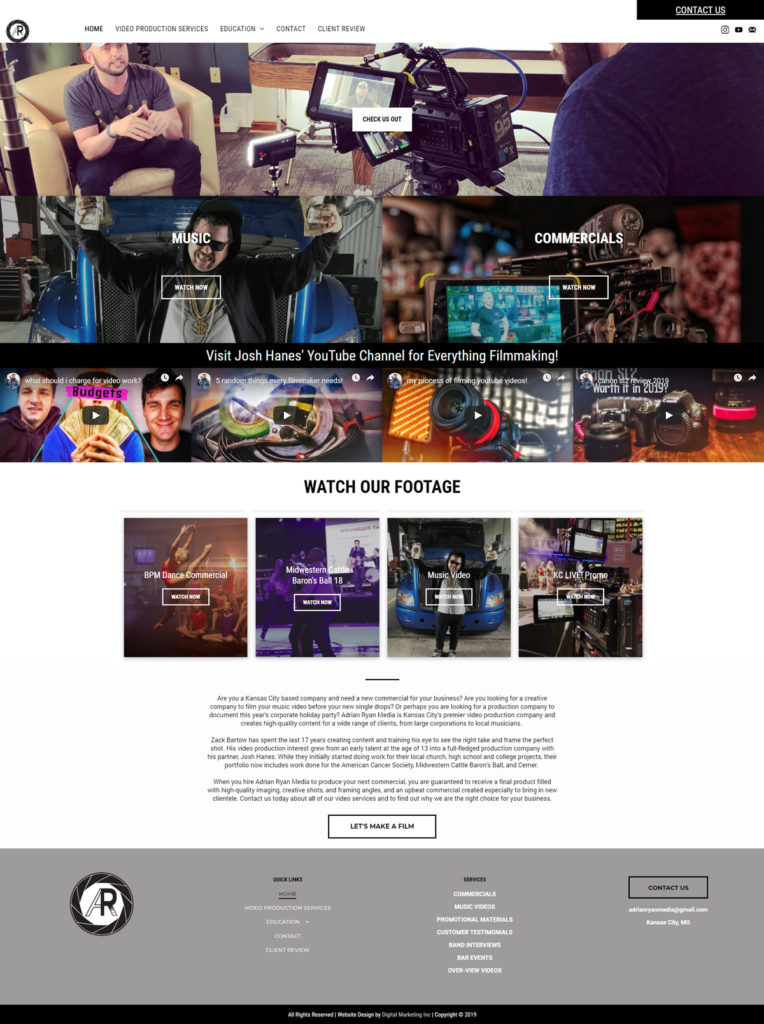 New Web Design for Adrian Ryan Media - Digital Marketing INC